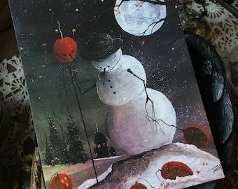 5x7 One Art Print from my Original Painting Cat Victorian Witchcraft Full Moon Snowman Halloween Folk Yule Solstice Christmas Terri Foss