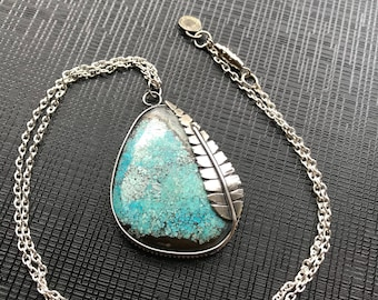 Turquoise Feather Pendant, Silver