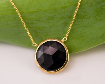 Black Onyx Necklace - 14k Gold Filled Chain - Round Gold Framed Black Stone Necklace - Gemstone necklace - Gold necklace - Layering Necklace