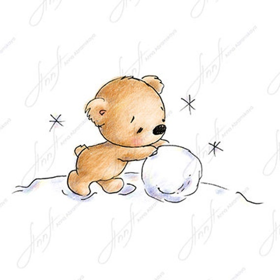 The Drawing Of Cute Teddy Bear Rolling Snowball Printable