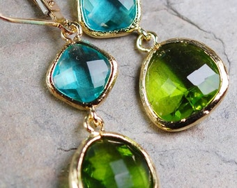 Aqua Blue Peridot Green Glass Earrings, Faceted Components, 14K Gold Fill Leverbacks, Bridesmaid Gift