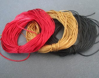 3 x 10 m 0.8 mm weave - red/brown/black nylon thread