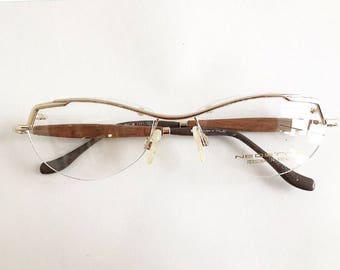 Vintage 1990's Gold Rimless Neostyle Eyeglasses with Wooden Temples
