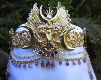 Triple Moon with Butterflies, Amethyst & Moonstone Circlet Headpiece Crown
