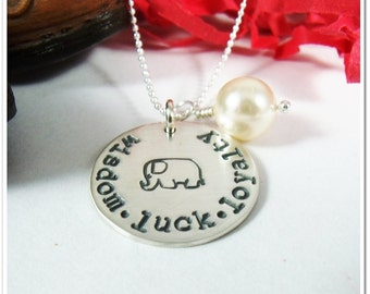 Personalized Elephant Necklace Hand Stamped Wisdom Luck Loyalty Sterling Silver
