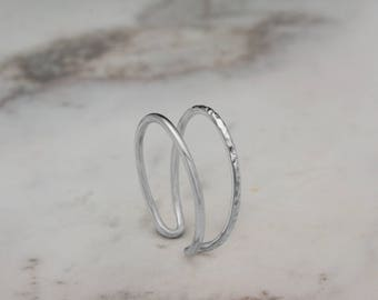 Double Gold Ring, White Gold Ring, Hammered Ring, 14K Gold Ring, White Gold, Stacking Rings, Solid Gold Midi Ring, Gift for Her, Dainty Ring