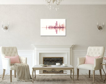 Landscape Photography, Chicago skyline, Wood Photo Block, Minimalist, Abstract Decor, Color photography, blush pink, white wall art, urban