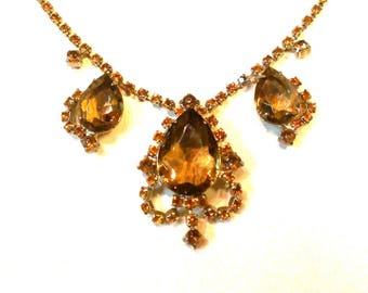 Amber and Smokey Topaz Glass Necklace