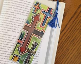 Cross Bookmark // Book Lover Gift with Crosses  // Stocking Stuffer for Reader // Religious Bookmark