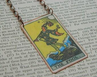 Tarot card necklace or pendant tarot jewelry The Fool mixed media jewelry supernatural