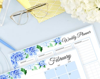 Blue Dahlias 2019 Calendar And Weekly Planner (Free 2018 Calendar)
