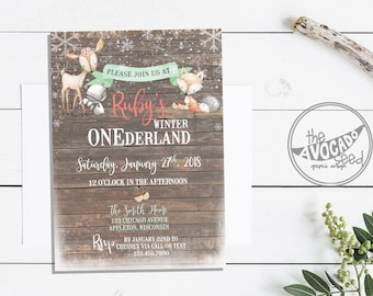 Woodland Winter ONEderland Invitation - DIY printing (add to cart - text in notes to seller box) or Professional Prints via Convo
