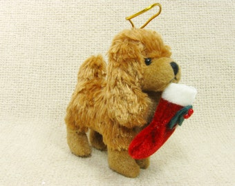 Vintage Ornament Dog with Christmas Stocking