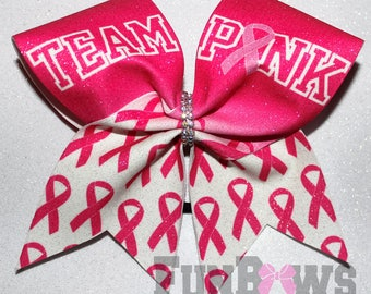 Gorgeous TEAM PINK Cancer Awareness Glitter Cheer bow by FunBows !