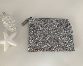 Clutch with silver glitter