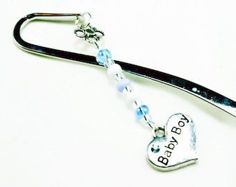 New Baby Boy Bookmark. Baby Shower Charm. Cute Silver Bookmark for Shower Favors.SBK024