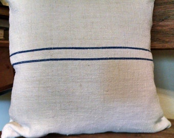 "CountryAntique Hand-Woven Grain Sack 16""x16"" Pillow Cover (2 blue stripes)"