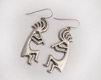 SaLe! sALe! Navajo Kokopelli Flute Player Earrings Sterling Silver