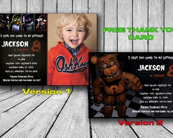 FNAF Invitation, FNAF Invitations, Five Nights at Freddys Birthday Invitation, 5 Nights at Freddys Birthday Invites, Printable