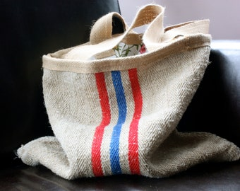 Grainsack / vintage fabric reversible market bag