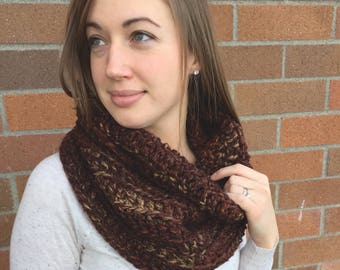 Brown Crochet Cowl Scarf, Gray Infinity Scarf, Red Infinity Scarf, Maroon Scarf, Burgundy Circle Scarf, Burgundy Crochet Infinity Scarf