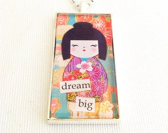 kokeshi doll pendant, kawaii doll necklace, domino, art collage jewelry, dream big