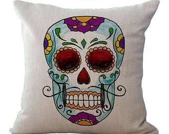 Sugar Skull Man Pillow Case Mustache Day Of The Dead