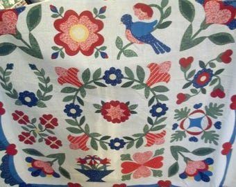 Vintage Fabric Panel, Quilting, Sewing, Primitive Flowers, Birds Design
