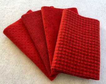 Hand Dyed Felted Wool, Poppy, 4 pieces in Bright Scarlet Red, Perfect for Rug Hooking, Applique and Crafts