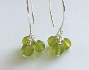 Olive Green Glass Earrings   Cultured Sea Glass Cluster Earrings   Sterling Silver Earrings