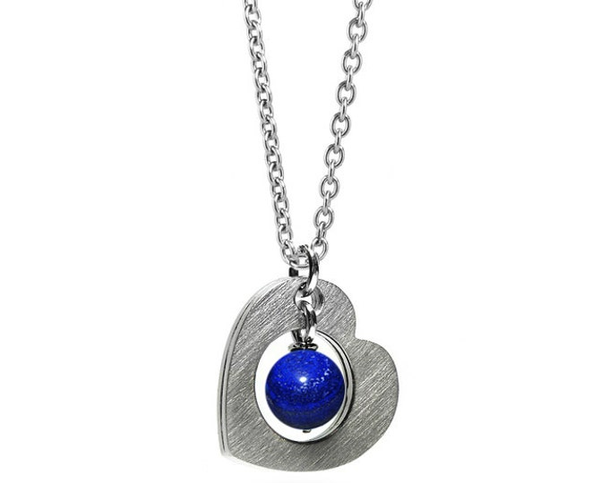 Open Heart Necklace Stainless Steel with Lapis Lazuli
