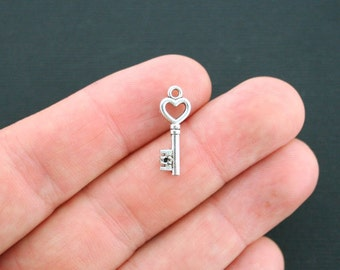 12 Heart Keys Charms Antique Silver Tone 2 Sided - SC2991