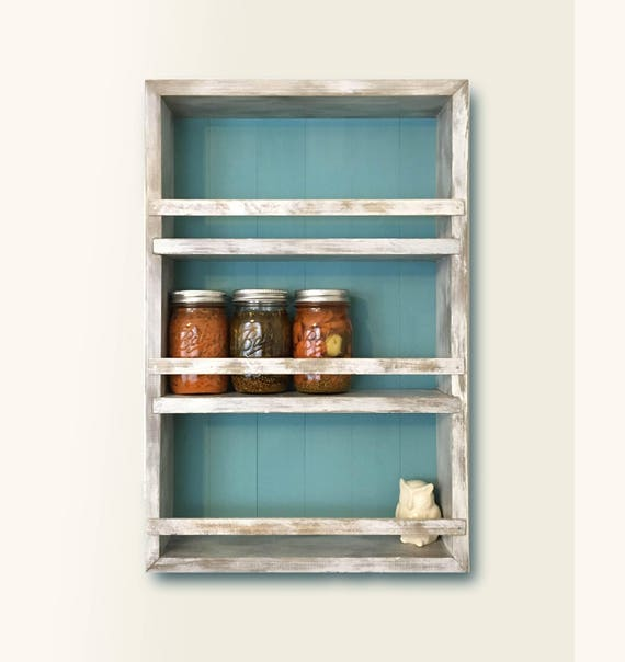Spice Rack Kitchen Cabinet Mason Jar Storage Rustic Wall