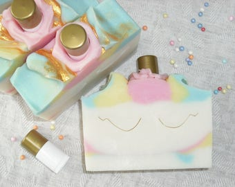 Unicorn Soap Unicorn Gift Set Gift for Girls / Soap and lip gloss / Cold Process Handmade Soap NEW