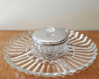Glass Divided Relish Tray and Dip Bowl Set by Indiana Glass