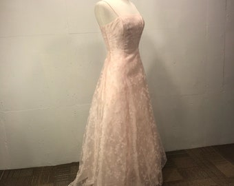 Pink ball gown formal prom wedding dress Morgen and Co by Linda Bernell pink ball gown w train