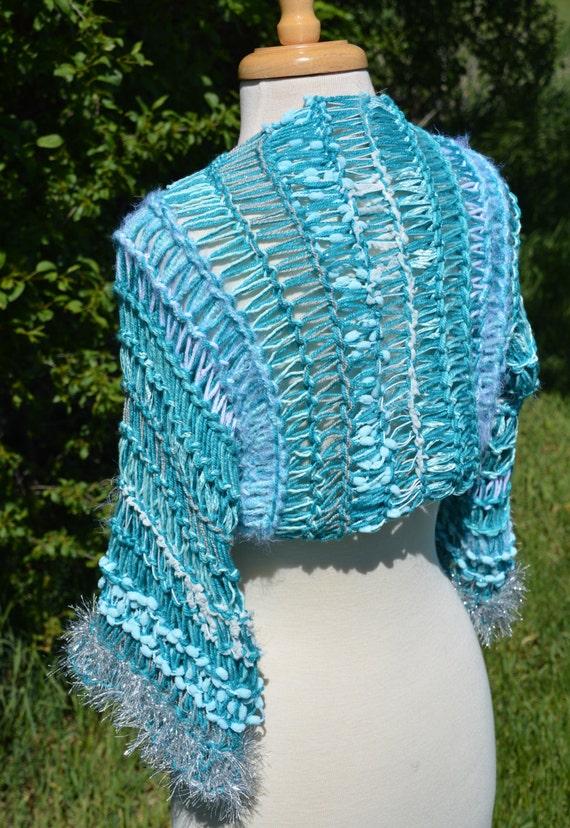 SALE Knit Shrug, Aquatone Sleevie, Knit Shrug Sweater with 3/4 Sleeves, Multitextutal Fiber Blend, youth fashion, wraps