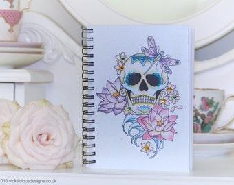 Lotus flower sugar skull tattoo day of the dead handmade A6 notebook