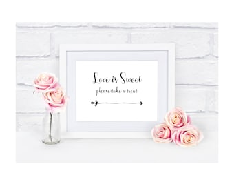 A5 Wedding Sign - Love is Sweet Please Take A Treat - Ivory Cream / White / Kraft