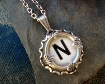 Initial Necklace Letter N, Vintage Typewriter Key Jewelry, Writer gift Idea, Personalized Necklace Gift for Mom