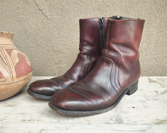 Vintage Ankle Boots Side Zipper Men's Size 9.5, Beatle Boots Burgundy Brown Leather Boots