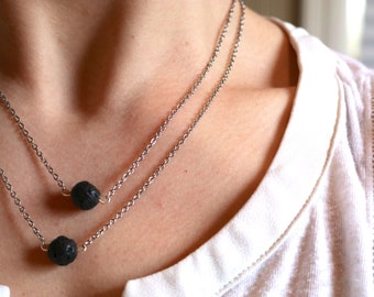 2 Stone Diffuser Necklace, Essential Oil jewelry, Lava Rock, Double Layer Chain, Aromatherapy, Silver Chain, minimalist, Layering Necklace