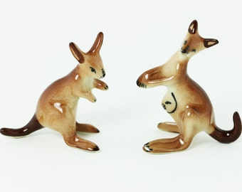 Tiny Animal - Set 2 Pcs. Kangaroo Ceramic Figurine Animal - Miniature Collectible Dollhouse - Ceramic Hand Painted