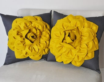 Yellow pillow cover Two Mustard Yellow and Charcoal Covers, Modern mustard pillow, home decor, Dark Gray Pillows, Honey Yellow Flower Decor