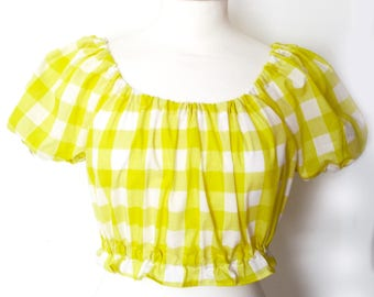 Off the Shoulder Yellow Gingham Peasant Top, Pin Up Girl Top, Summer Crop Top, Vintage Top, Rockabilly Top, Ready to Ship in Size S