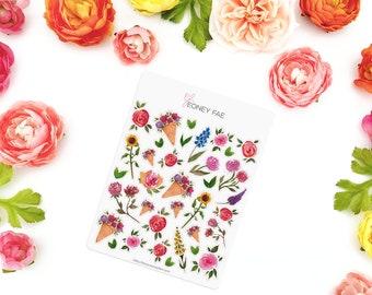 Flower Stickerset-Watercolor sticker-pretty planning-scrapbooking-bullet journaling
