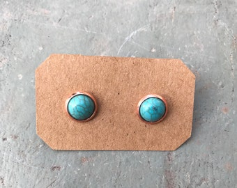 8mm Turquoise Studs | Turquoise Earrings | Rose gold