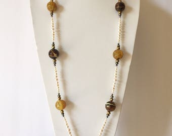 """36"""" Opera station necklace. Real, genuine cultured Freshwater Pearls & Agate. White Bronze Brown Black. Bold, Striking, Statement Jewelry"""