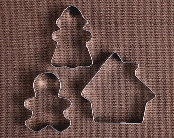 Gingerbread House Cookie Cutter Set, Gingerbread Cookie Cutters, Christmas Cookie Cutters, Holiday Cookie Cutters, Sugar Cookie Cutters