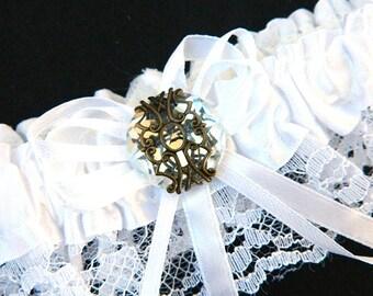 White Garter with Diamond gem - Fantasy fun wedding bridal garter (6 garter color, 12 gem color option) Gothic Victorian